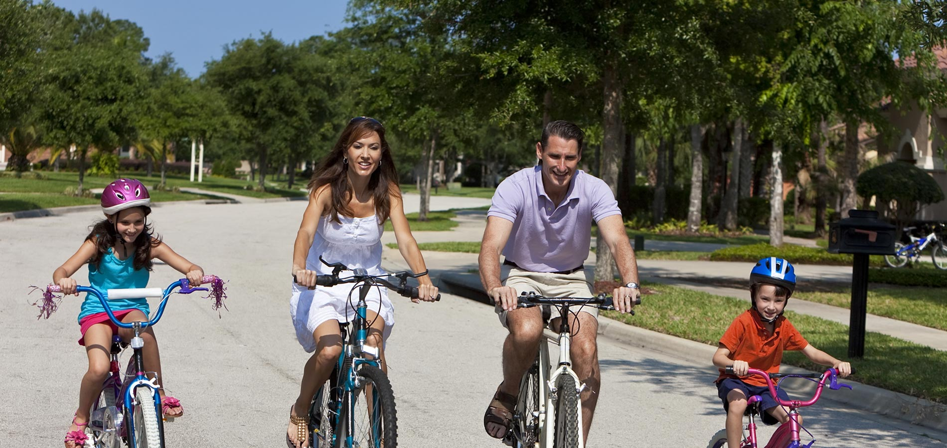 Family biking in Julington Creek looking for homes for sale